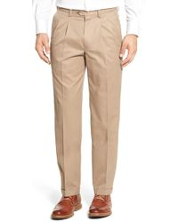 Nordstrom - Classic Smartcare(tm) Supima Cotton Pleated Trousers - Lyst