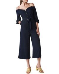 Whistles - Carina Off The Shoulder Crop Jumpsuit - Lyst
