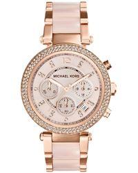 3ffb701d85a4 Michael Kors - Michael Kors  parker  Blush Acetate Link Chronograph Watch