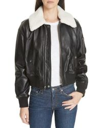 10 Crosby Derek Lam - Cropped Leather Flight Jacket With Genuine Shearling Removable Trim - Lyst