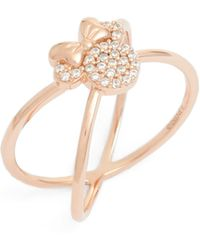 Disney - Minnie Mouse Rose Gold & Crystal Cross Ring - Lyst