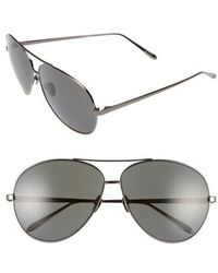 Linda Farrow - 64mm Aviator Sunglasses - Nickel/ Grey - Lyst
