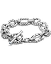 David Yurman - 'chain' Cushion Link Bracelet With Diamonds - Lyst