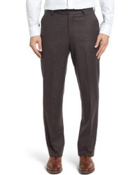 Berle | Flat Front Solid Wool Trousers | Lyst