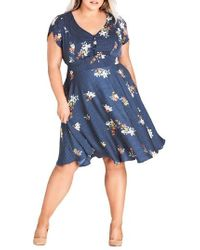 City Chic - Sweet Spot Floral Fit & Flare Dress - Lyst