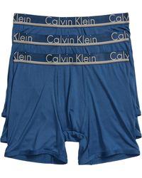 Calvin Klein - 3-pack Stretch Boxer Briefs, Blue - Lyst