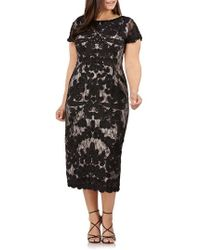 JS Collections - Two Tone Soutache Embroidered Midi Dress - Lyst