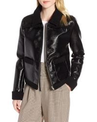 Trouvé - Faux Patent Leather & Shearling Jacket - Lyst