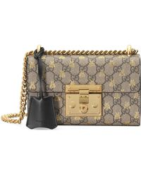 8955e5b86fd7 Gucci Padlock Studded Leather Shoulder Bag in Black - Lyst