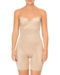Spanx - Spanx Suit Your Fancy Strapless Cupped Mid-thigh Shaper Bodysuit - Lyst