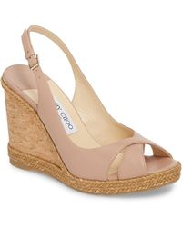 6ec0e7ac744a Lyst - Jimmy Choo Perfume Patent Leather Cork Wedge Sandals in Green