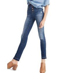 Madewell - 10-inch High Waist Drop Hem Skinny Jeans - Lyst