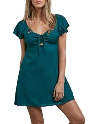 Volcom - It's A Cinch Babydoll Dress - Lyst