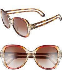 9e6c5a3038 Lyst - Tory Burch Plastic Metal Aviator Sunglasses in Brown
