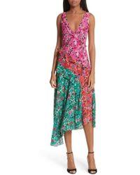 Saloni - Aggie Floral Print Silk Dress - Lyst