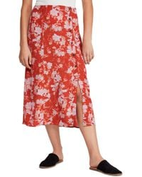Free People - Retro Love Printed Button - Front Midi Skirt - Lyst