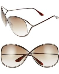 2549438eae Tom Ford - Miranda 68mm Open Temple Oversize Metal Sunglasses - - Lyst