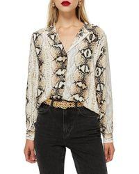 TOPSHOP - Jessica Snake Print Shirt - Lyst