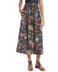 Tibi - Print Tech Floral Skirt - Lyst