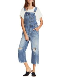 621d7b4a84 Lyst - Free People Vintage Distressed Denim Overalls in Blue
