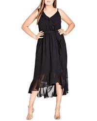 City Chic - Flirty Detail Midi Wrap Dress - Lyst