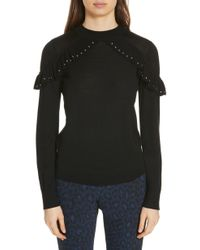 Kate Spade - Studded Ruffle Sweater - Lyst