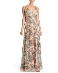 Dress the Population - Sidney Embroidered Fit & Flare Gown - Lyst