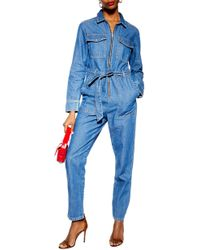 TOPSHOP - Denim Utility Boilersuit - Lyst