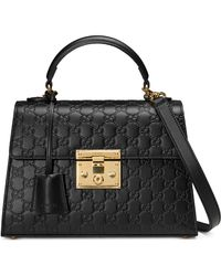 Gucci - Small Padlock Top Handle Signature Leather Bag - Lyst