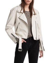 AllSaints - Anderson Sheepskin Leather Biker Jacket - Lyst