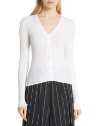 Vince - Ribbed Lettuce Cuff Cotton Cardigan - Lyst