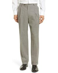 Berle - Pleated Houndstooth Wool Trousers - Lyst