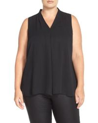 Vince Camuto - Pleat Front V-neck Sleeveless Blouse - Lyst