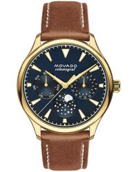 Movado - 'heritage' Multifunction Leather Strap Watch - Lyst