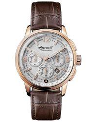 INGERSOLL WATCHES - Ingersoll Regent Chronograph Leather Strap Watch - Lyst