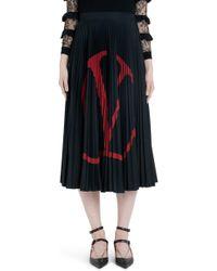 95e96f0f0 Valentino - Logo Pleated Jersey Midi Skirt - Lyst