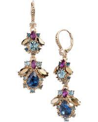 Marchesa - Crystal Cluster Double Drop Earrings - Lyst