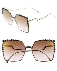 Fendi - 60mm Gradient Square Cat Eye Sunglasses - - Lyst