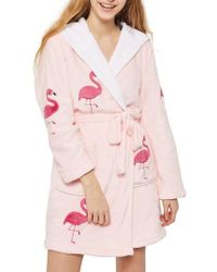 TOPSHOP | Flamingo Hooded Robe | Lyst