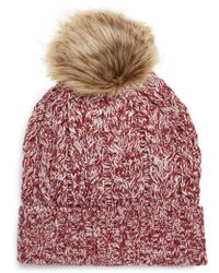 Sole Society - Cable Knit Beanie With Faux Fur Pom - Lyst
