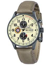 AVI-8 - Hawker Hurricane Chronograph Leather Strap Watch - Lyst