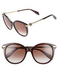Alexander McQueen - 53mm Rounded Cat Eye Sunglasses - Avana - Lyst