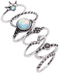 TOPSHOP - Beach House 7-pack Ring Set - Lyst