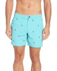 Boto - Aruba Tailored Fit Embroidered Palm Swim Trunks - Lyst