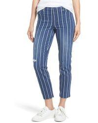 Hue | Stripe Denim Crop Leggings | Lyst