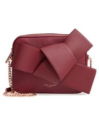 Ted Baker - Giant Knot Leather Camera Bag - Burgundy - Lyst