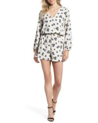 d84c3e62edb8 Lyst - Fraiche By J Print Long Sleeve Romper in Pink