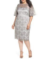 Adrianna Papell - Flutter Sleeve Lace Sheath Dress - Lyst