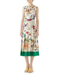84c3b1f915e Gucci - Flora Gothic Print Silk Pleated Midi Dress - Lyst