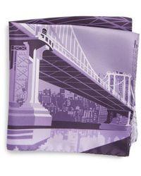 Eton of Sweden - Manhattan Bridge Silk Pocket Square - Lyst
